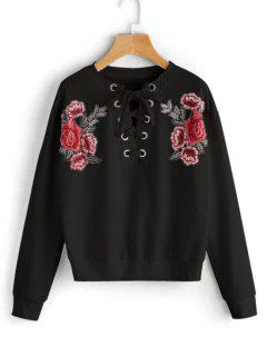Lace Up Floral Patched Sweatshirt - Black S