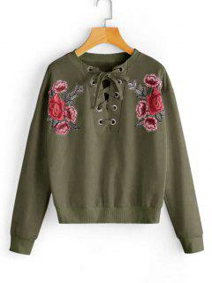 Lace Up Floral Patched Sweatshirt - Army Green L