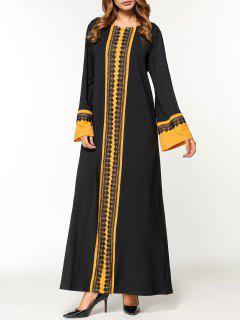 Lace Panel Maxi Arabic Dress - Black M