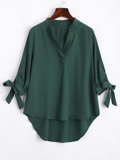 Bow Tied Sleeve High Low Blouse - Green Xl