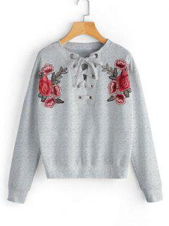 Lace Up Floral Patched Sweatshirt - Gray S