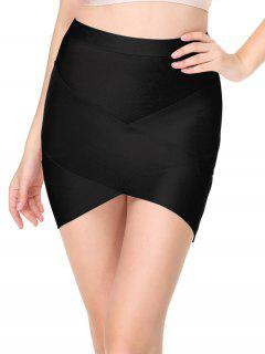 High Waist Mini Bandage Skirt - Black S