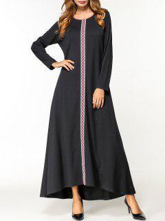 Floor Length Long Sleeve Dress - Black 2xl