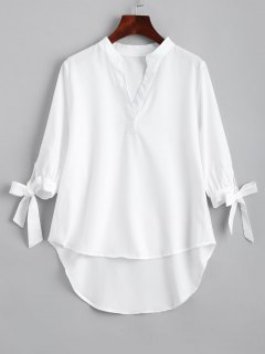 Bow Tied Sleeve High Low Blouse - White M