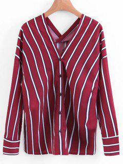Botón De Cuello En V Blusa Rayada - Rojo Oscuro S