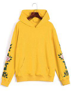 Floral Patched Front Pocket Hoodie - Yellow Xl