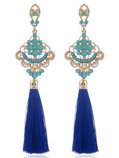 Alloy Engraved Rhinestone Tassel Earrings - Blue