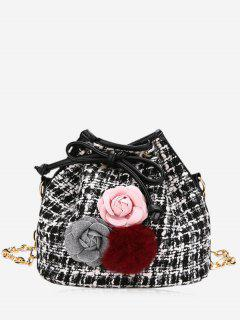 Flower Pom Pom Plaid Drawstring Crossbody Bag - Black