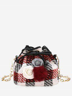 Flower Pom Pom Plaid Drawstring Crossbody Bag - Red
