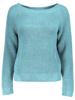 Boat Neck Loose Sweater - Lake Blue
