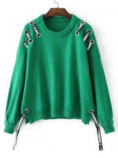 Oversized Ribbons Bow Tied Sweater - Green