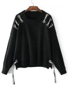 Oversized Ribbons Bow Tied Sweater - Black