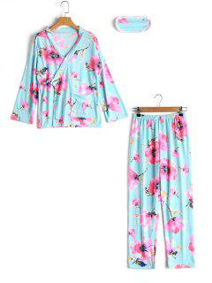 Loungewear Floral Wrap Top With Pants - Lake Blue M