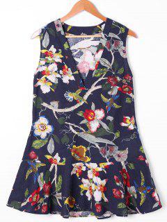 Sleeveless 3D Floral Birds Print Drop Waist Dress - S