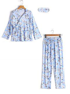 Loungewear Floral Wrap Top With Pants - Blue Xl