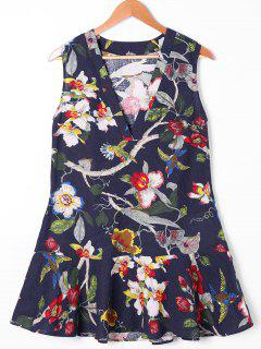 Sleeveless 3D Floral Birds Print Drop Waist Dress - M