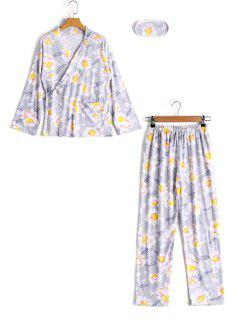 Loungewear Flower Wrap Top With Pants - Gray Xl