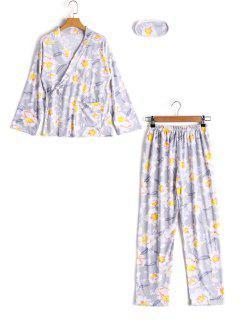 Haut Drapé Floral Avec Cordon Et Pantalon  - Gris L