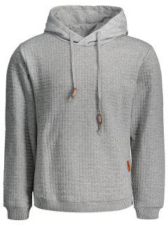 Mens Ribbed Trim Hoodie - Gray L