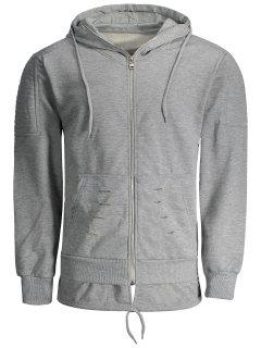 Distressed Zip Up Hoodie - Gray Xl
