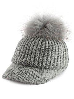Pom Ball Embellished Knit Baseball Hat - Gray