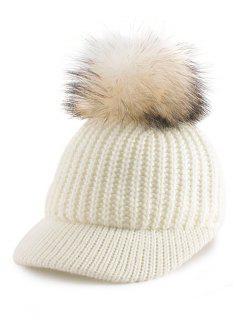 Pom Ball Embellished Knit Baseball Hat - White