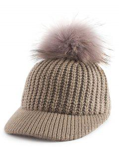 Pom Ball Embellished Knit Baseball Hat - Khaki