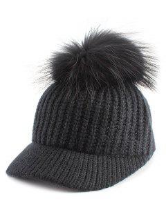 Pom Ball Embellished Knit Baseball Hat - Black