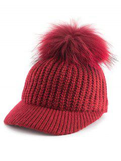 Pom Ball Embellished Knit Baseball Hat - Red
