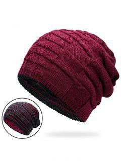 Color Block Reversible Knit Hat - Wine Red