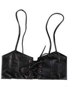 Lace Up High Waist Spaghetti Strap Belt - Black