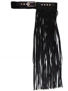 Half Side Long Fringed PU Leather Belt - Black