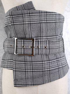 Big Pin Buckle High Waist Corset Belt - Checked
