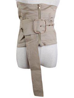 Large Pin Buckle Zip Up Corset Belt - Light Khaki