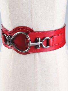 Large Metal Clasp Faux Leather Wide Belt - Wine Red