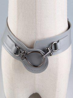 Large Metal Clasp Faux Leather Wide Belt - Gray