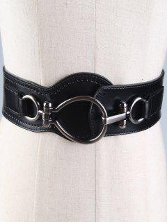 Large Metal Clasp Faux Leather Wide Belt - Black