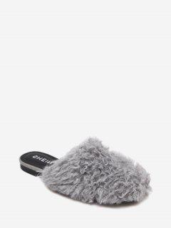 Flat Heel Faux Fur Slippers - Gray 36