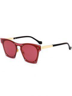 Anti UV Metallic Frame Pilot Sunglasses - Red