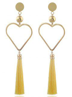 Alloy Heart Tassel Statement Earrings - Yellow