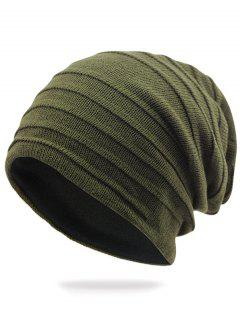Stripy Plain Knit Hat - Army Green