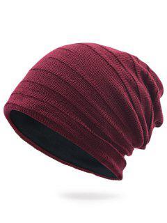 Stripy Plain Knit Hat - Wine Red