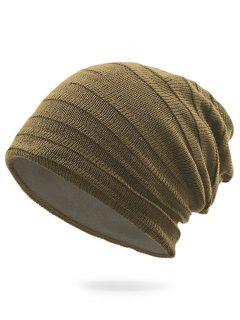 Stripy Plain Knit Hat - Dark Khaki