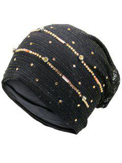 Rhinestone Embellished Golden Thread Lace Hat - Black