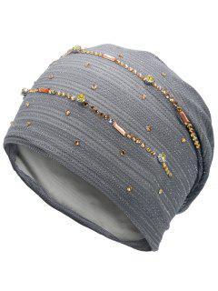 Sombrero De Encaje Con Hilo De Oro Adornado Con Diamantes De Imitación - Gris