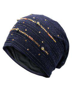 Rhinestone Embellished Lurex Lace Hat - Purplish Blue