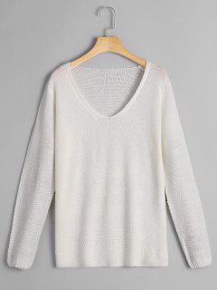 V Neck Loose Fit Pullover Knitwear - White Xl