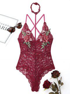 Donna Flower Choker Teddy - Rouge Vineux  L