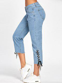Lace Up Denim Capri Pants - Denim Blue Xl
