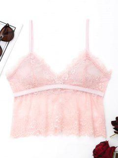 Lace See Through Cami Bralette - Pink L